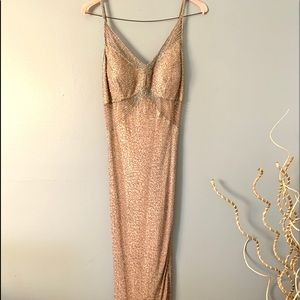 SCALA - tan beaded gown size XL